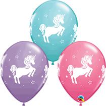 "Whimsical Unicorn Assorted Colour 11"" Latex Balloons 25pk"