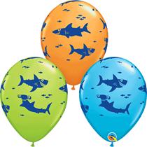 "Ocean Sharks Assorted Colour 11"" Latex Balloons 25pk"
