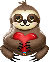 """Sitting Sloth With Heart 39"""" Foil Balloon"""