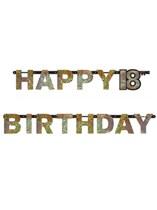 Gold Celebration Happy 18th Birthday Letter Banner