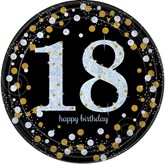 Gold Celebration 18th Birthday Paper Plates 8pk