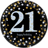 Gold Celebration 21st Birthday Paper Plates 8pk