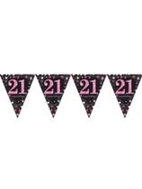 Pink Celebration Happy 21st Birthday Flag Banner