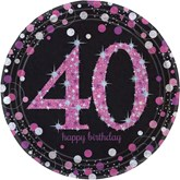 Pink Celebration 40th Birthday Paper Plates 8pk