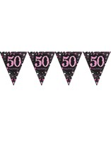 Pink Celebration Happy 50th Birthday Flag Banner