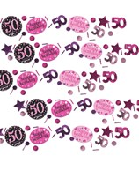 Pink Celebration 50th Birthday 3 Variety Confetti