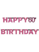 Pink Celebration Happy 60th Birthday Letter Banner