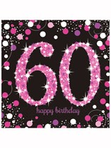Happy 60th Birthday Pink Celebration Luncheon Napkins 16pk