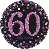 Pink Celebration 60th Birthday Paper Plates 8pk