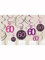 Pink Celebration 60th Birthday Hanging Swirl Decorations 12pk