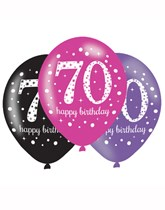 "Happy 70th Birthday Pink Celebration 11"" Latex Balloons 6pk"