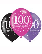 "Happy 100th Birthday Pink Celebration 11"" Latex Balloons 6pk"