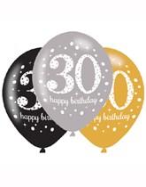 "Happy 30th Birthday Gold Celebration 11"" Latex Balloons 6pk"