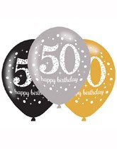 "Happy 50th Birthday Gold Celebration 11"" Latex Balloons 6pk"