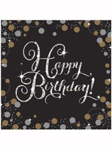 Happy Birthday Gold Celebration Luncheon Napkins 16pk