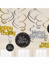 Gold Celebration Birthday Hanging Swirl Decorations 12pk