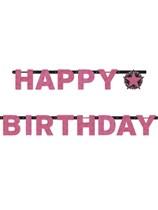 Pink Celebration Happy Birthday Letter Banner