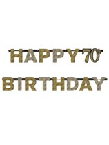Gold Celebration Happy 70th Birthday Letter Banner