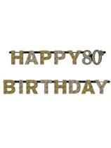 Gold Celebration Happy 80th Birthday Letter Banner