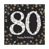80th Birthday Gold Celebration Lunch Napkins 16pk