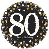 Gold Celebration 80th Birthday Paper Plates 8pk