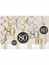 Gold Celebration 80th Birthday Hanging Swirl Decorations 12pk