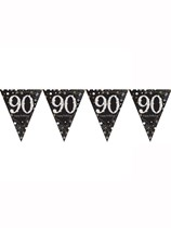 Gold Celebration Happy 90th Birthday Flag Banner