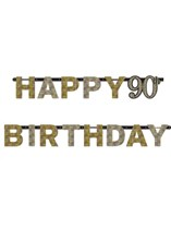 Gold Celebration Happy 90th Birthday Letter Banner