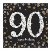 90th Birthday Gold Celebration Lunch Napkins 16pk