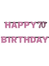 Pink Celebration Happy 70th Birthday Letter Banner