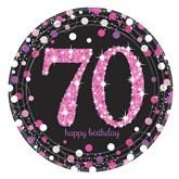 Pink Celebration 70th Birthday Paper Plates 8pk