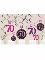 Pink Celebration 70th Birthday Hanging Swirl Decorations 12pk