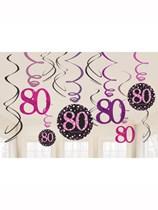 Pink Celebration 80th Birthday Hanging Swirl Decorations 12pk