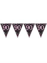 Pink Celebration Happy 90th Birthday Flag Banner