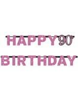 Pink Celebration Happy 90th Birthday Letter Banner