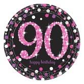 Pink Celebration 90th Birthday Paper Plates 8pk