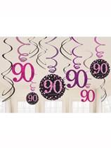 Pink Celebration 90th Birthday Hanging Swirl Decorations 12pk