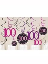 Pink Celebration 100th Birthday Hanging Swirl Decorations 12pk