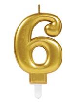 Gold Number 6 Metallic Cake Candle