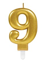 Gold Number 9 Metallic Cake Candle