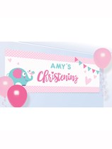 Elephant On Your Christening Day Personalised Banner