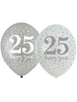"Sparkling 25th Silver Anniversary 11"" Latex Balloons 6pk"