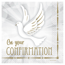 On Your Confirmation Dove Party Napkins 16pk