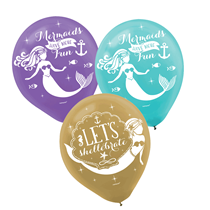 "Mermaid Wishes 11"" Latex Party Balloons 6pk"
