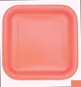 Coral Square 23cm Paper Plates 14pk