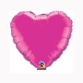 "Magenta 9"" Heart Foil Balloon"