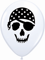 "White Pirate Skull 5"" Latex Balloons 100pk"