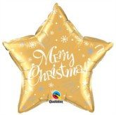 "Merry Christmas Star Shaped 20"" Foil Balloon - Gold"