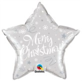 "Merry Christmas Star Shaped 20"" Foil Balloon - Silver"