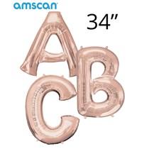 """Amscan Rose Gold Giant 34"""" Letter Foil Balloons"""